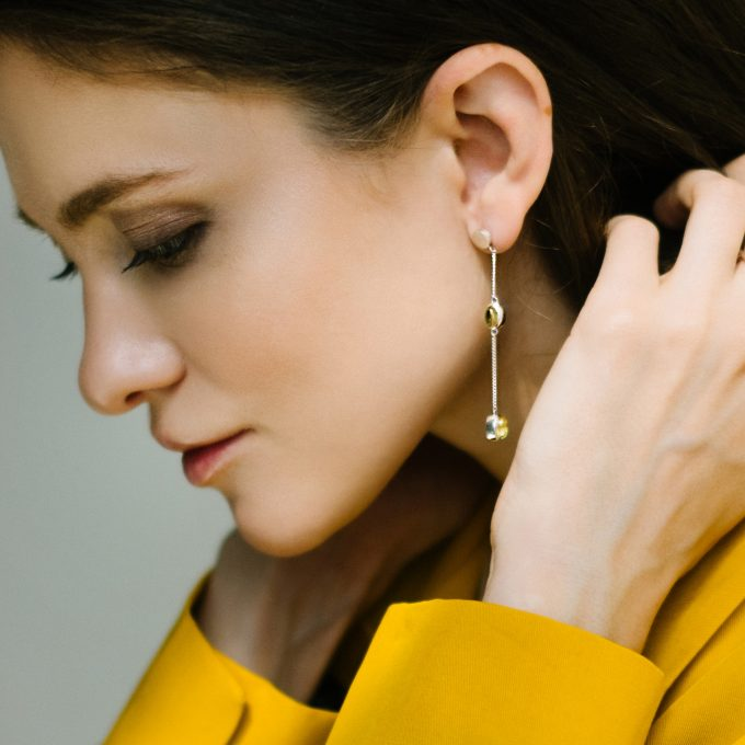Asymmetrical Silver Earrings with Amber