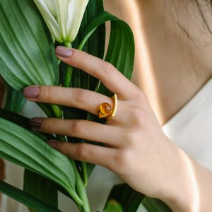 Curved Silver Gilt Ring with Cherry Amber