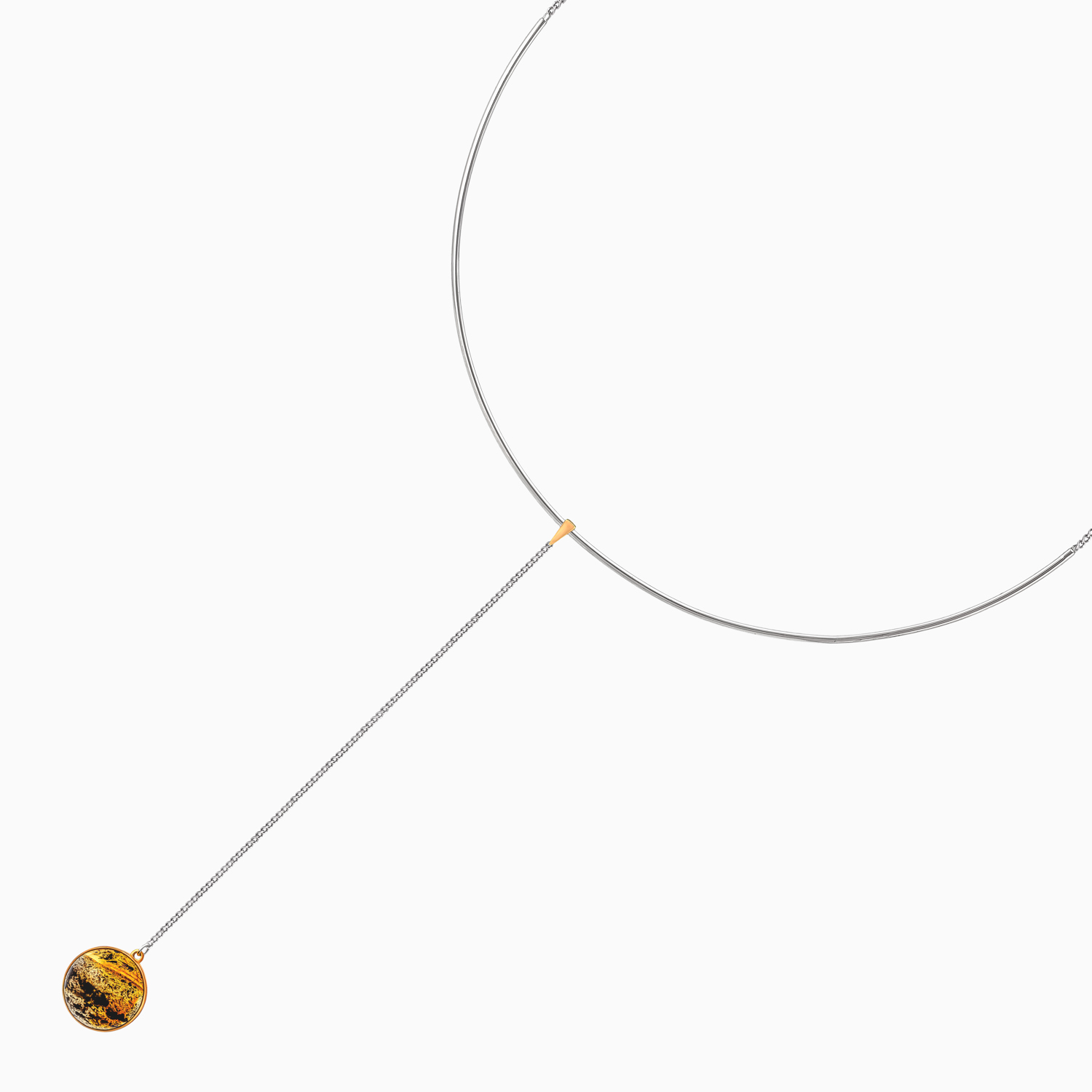 Luna Silver Necklace with Amber