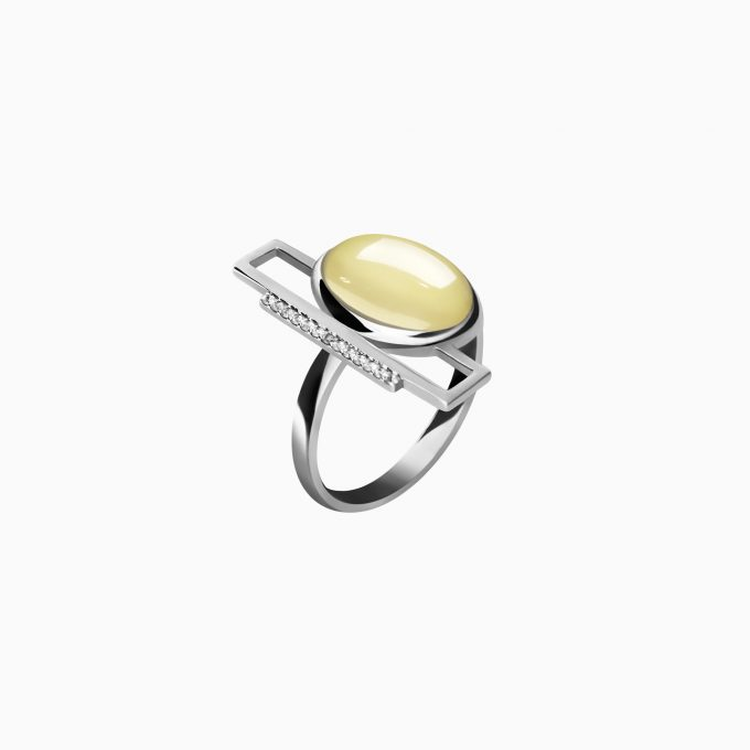 Oval Silver Ring with Amber