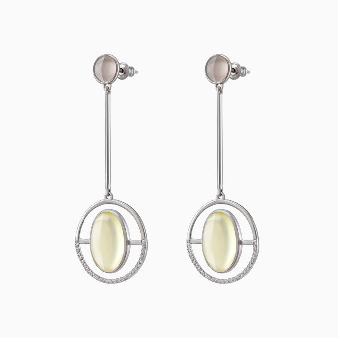 Circled Silver Earrings with Amber and Moonstone