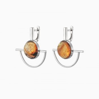 Modernism Silver Earrings with Inclusions Inside Amber