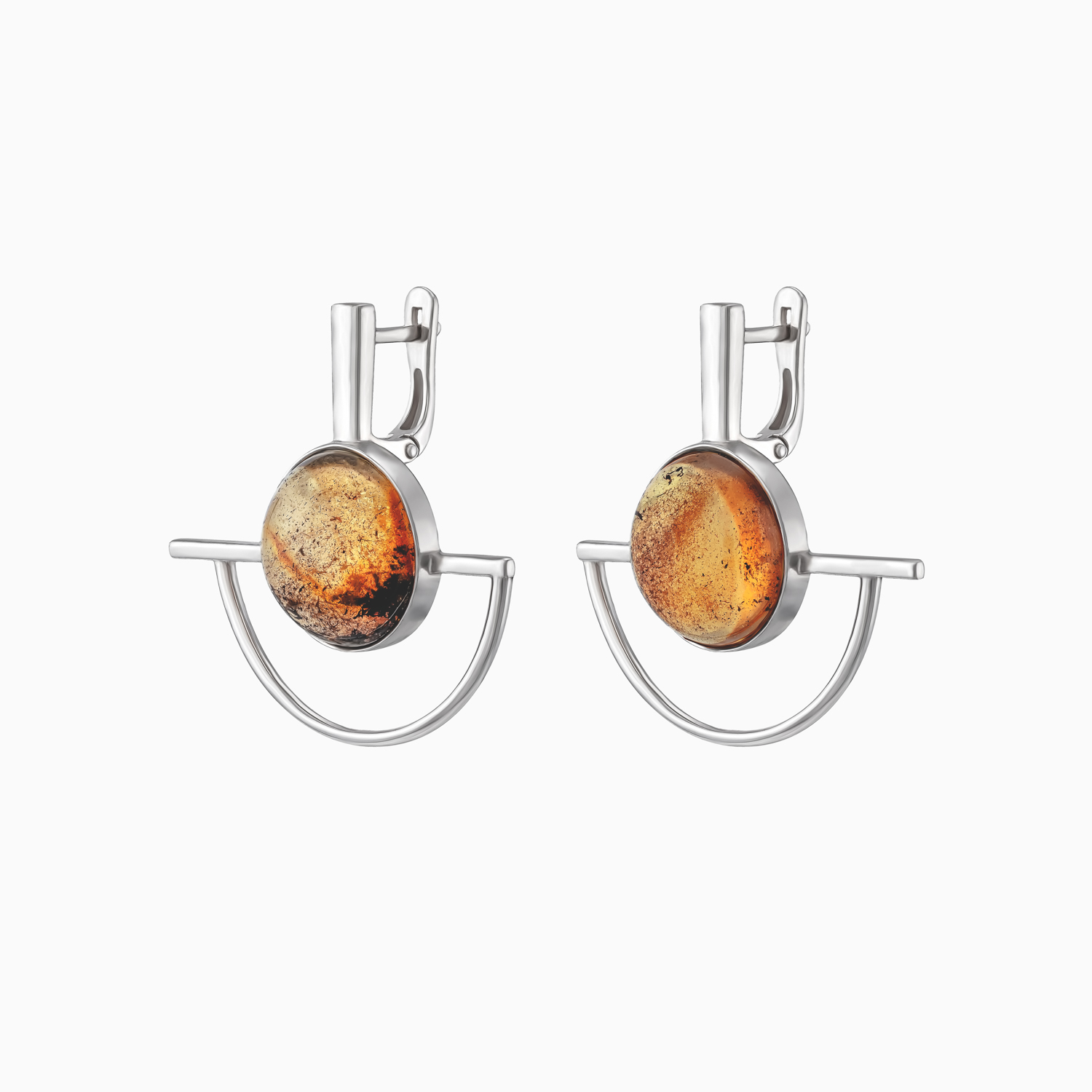 Silver Earrings with Inclusions Inside Amber