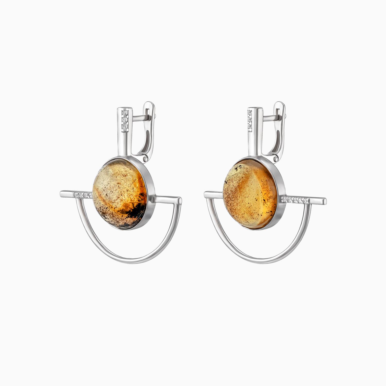 Серебряные серьги с включениями в янтаре