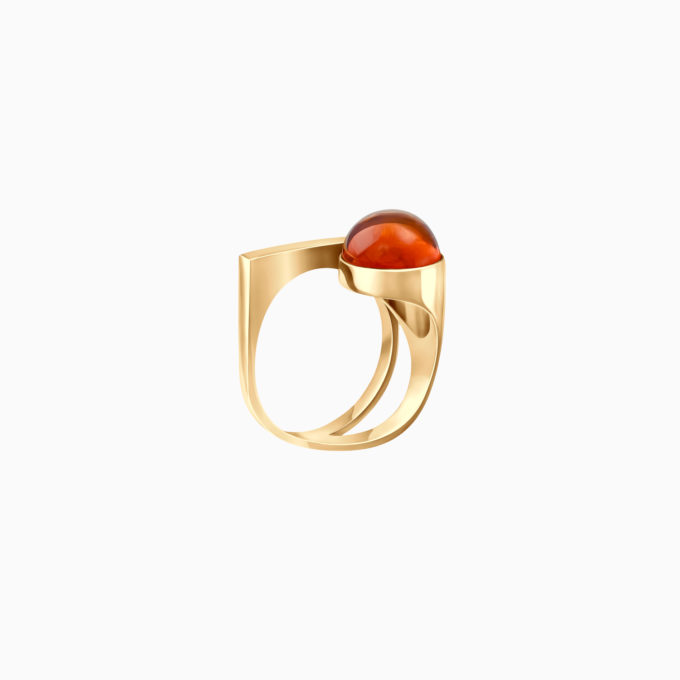 Modernism Silver Gilt Ring with Cognac Amber