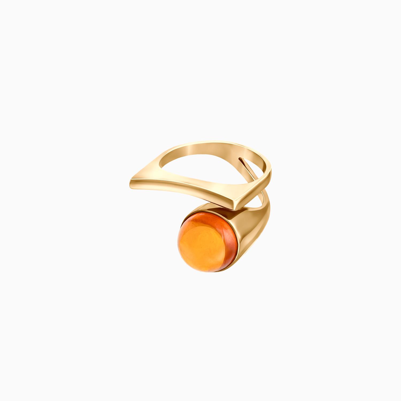 Кольцо Modernism из покрытого золотом серебра с коньячным янтарём