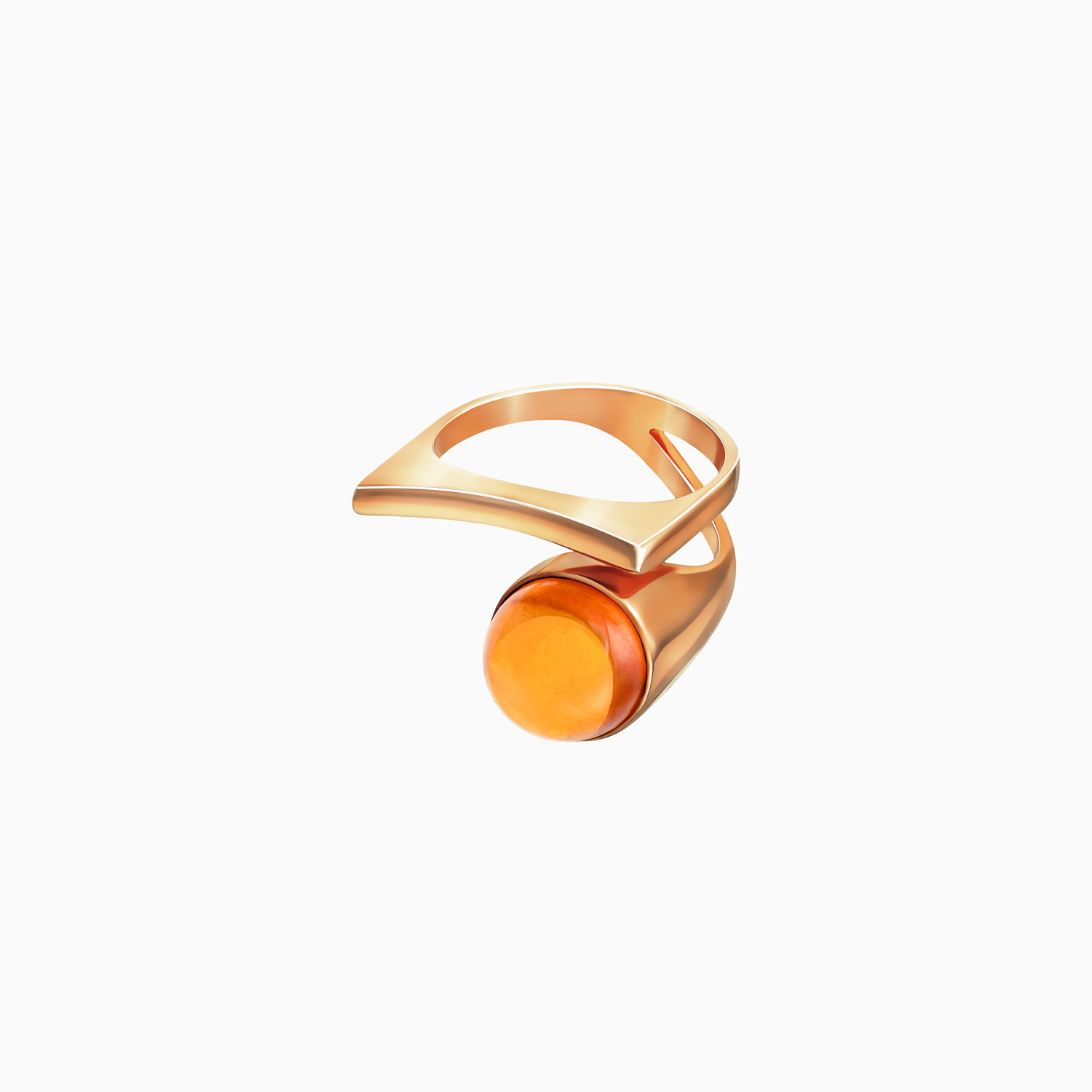 Silver Gilt Ring with Cognac Amber