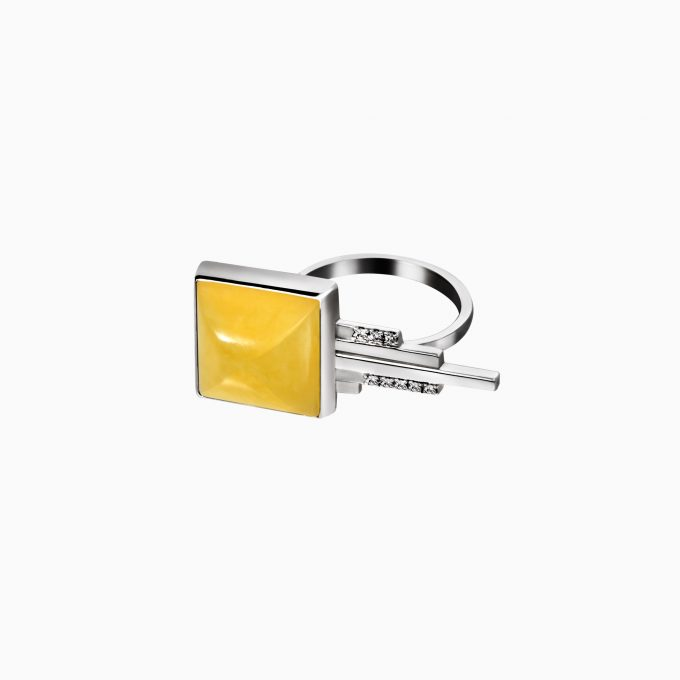 Art Deco Silver Ring with Matte Amber