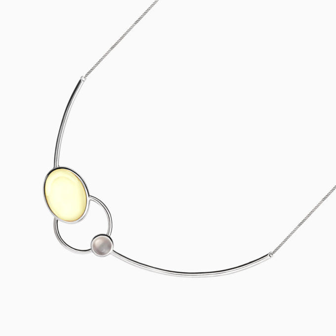 Modernism Asymmetrical Silver Necklace with Light Amber