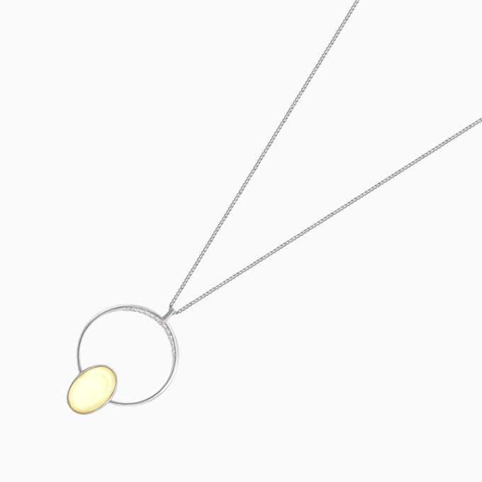 Modernism Circle Silver Pendant on a Chain with Oval Amber