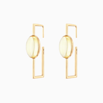 Modernism Geometric Silver Gilt Earrings with Light Amber