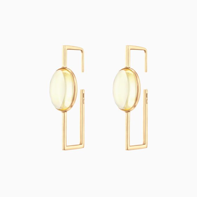 Геометричные серьги Modernism из покрытого золотом серебра и светлым янтарём