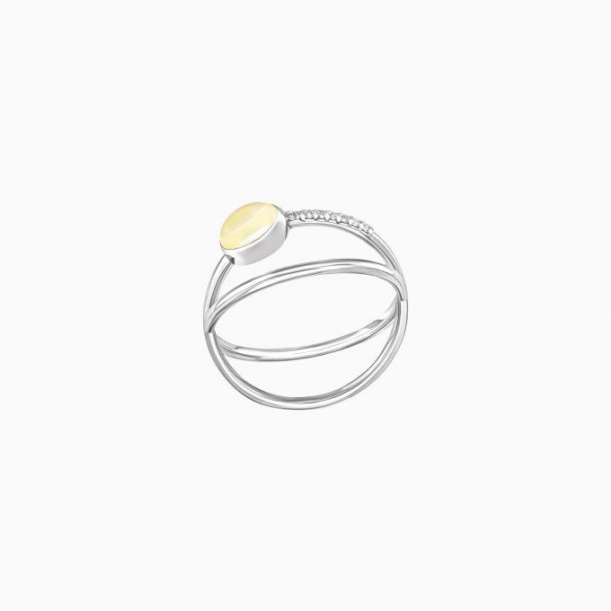 Серебряное кольцо Modernism «Планета» с янтарём