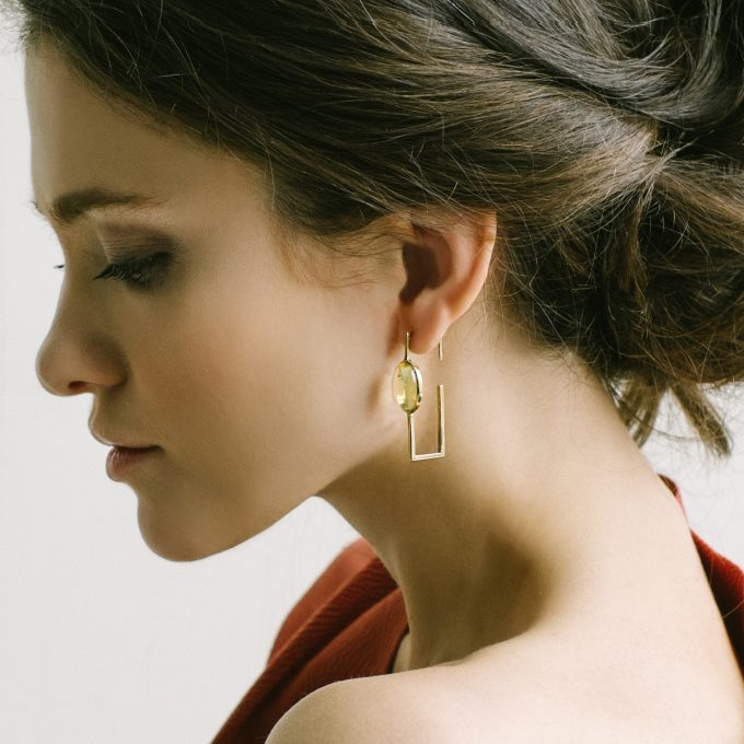 Pure Geometric Silver Gilt Earrings with Amber