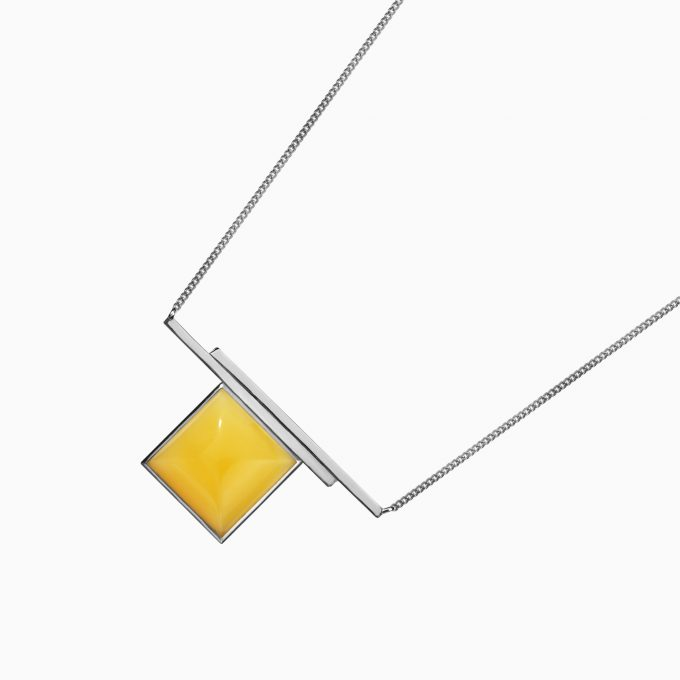 Two Strings Silver Necklace with Amber