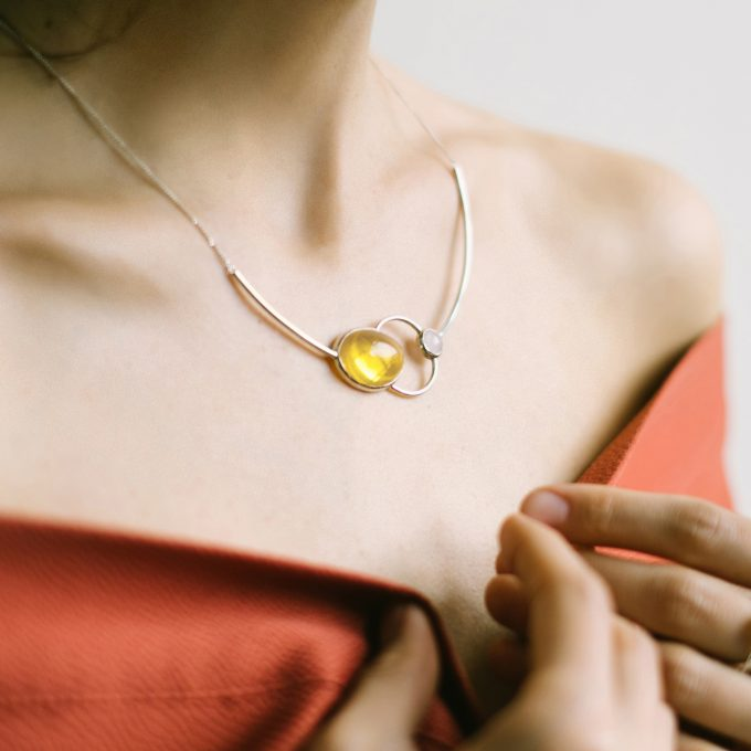 Asymmetrical Silver Necklace with Amber
