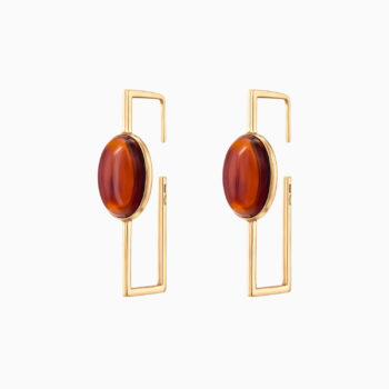 Modernism Geometric Silver Gilt Earrings with Cognac Amber