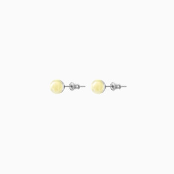 1919 Silver Stud Earrings with Light Amber