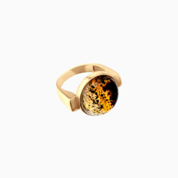 Modernism Silver Gilt Ring with Inclusions Inside Amber