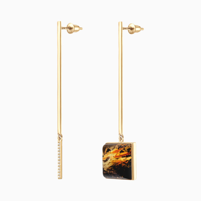 Modernism String & Square Silver Gilt Earrings with Inclusions Inside Amber