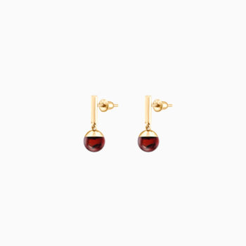 1919 Silver Gilt Drop Earrings with Cherry Amber