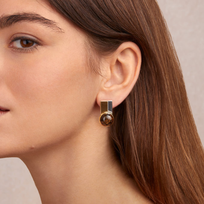 Modernism Silver Gilt Earrings with Inclusions Inside Amber
