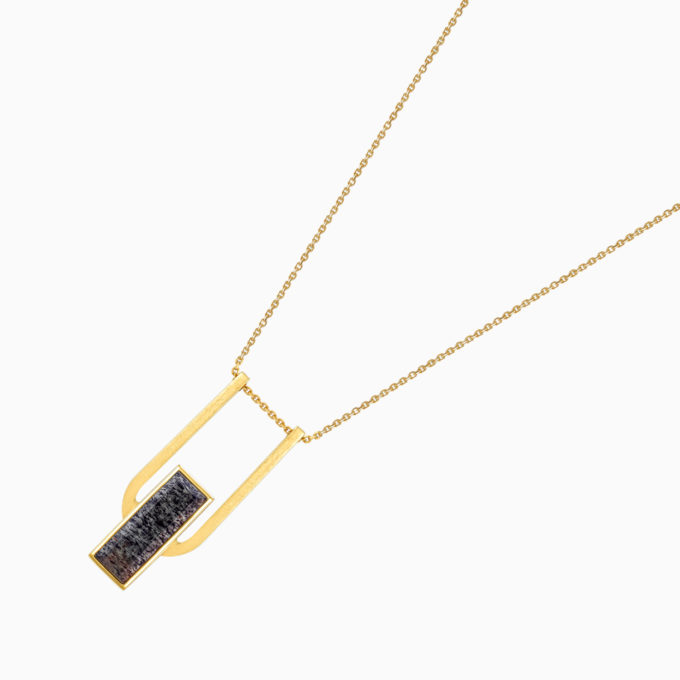 Roma Arch Gold Plated Silver Necklace with Cloudy Sunstone