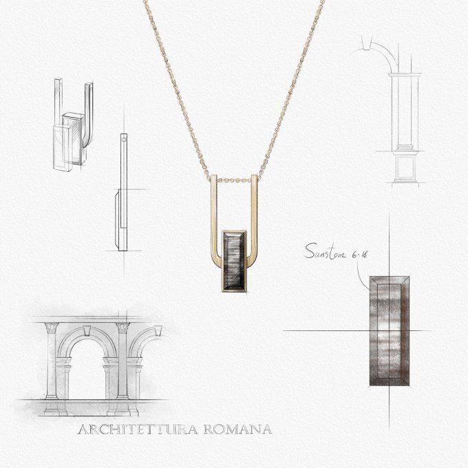 Арочное колье Roma из покрытого золотом серебра с дымчатым гелиолитом