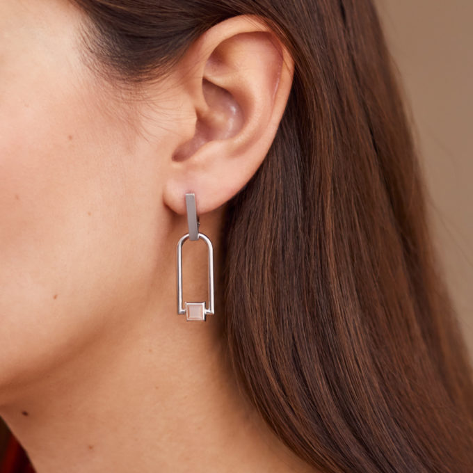 Roma Arch Silver Earrings with Rose Moonstone