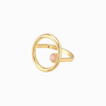 Roma Circular Gold Plated Silver Ring with Rose Moonstone