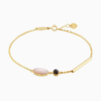 Roma Gold Plated Silver Bracelet with Cloudy Sunstone and Rose Moonstone