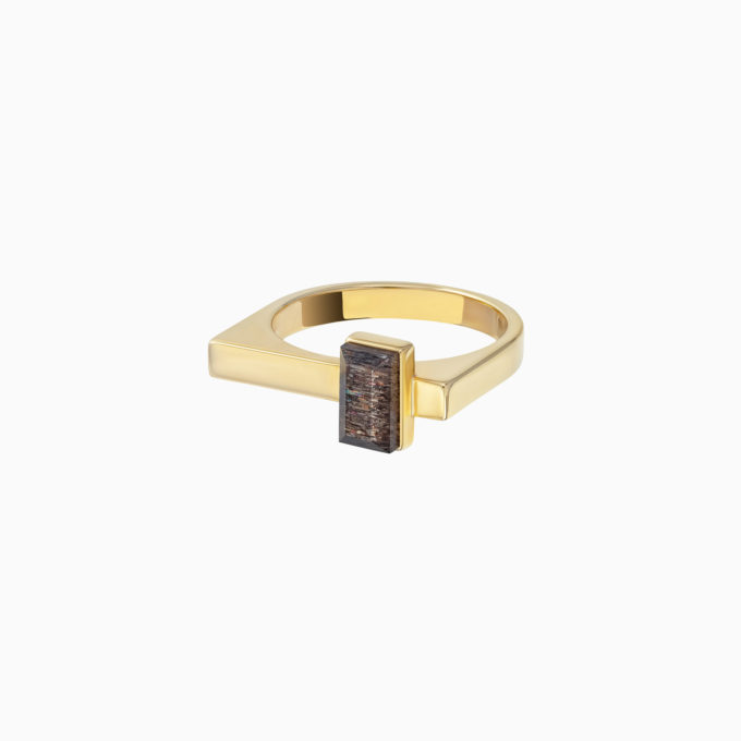Roma Gold Plated Silver Ring with Cloudy Sunstone