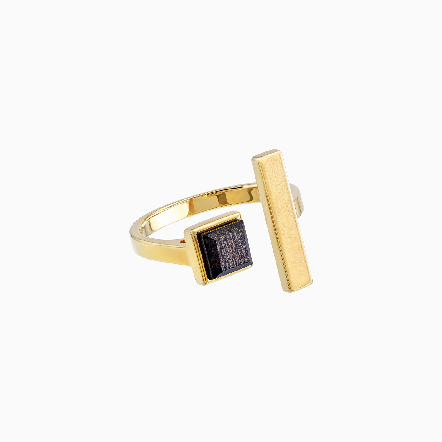 Roma Open Gold Plated Silver Ring with Cloudy Sunstone