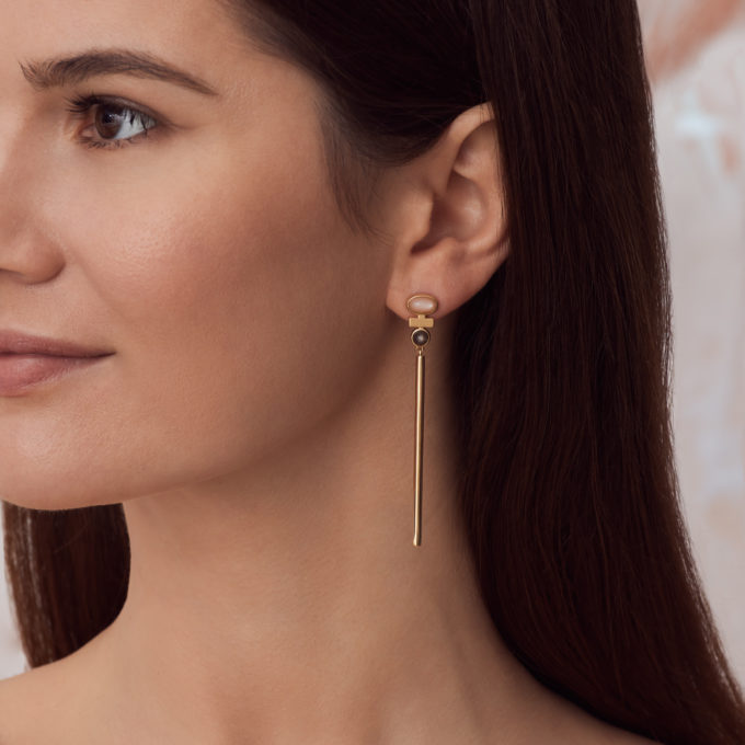 """Roma """"Parallel"""" Gold Plated Silver Earrings with Cloudy Sunstone and Rose Moonstone"""
