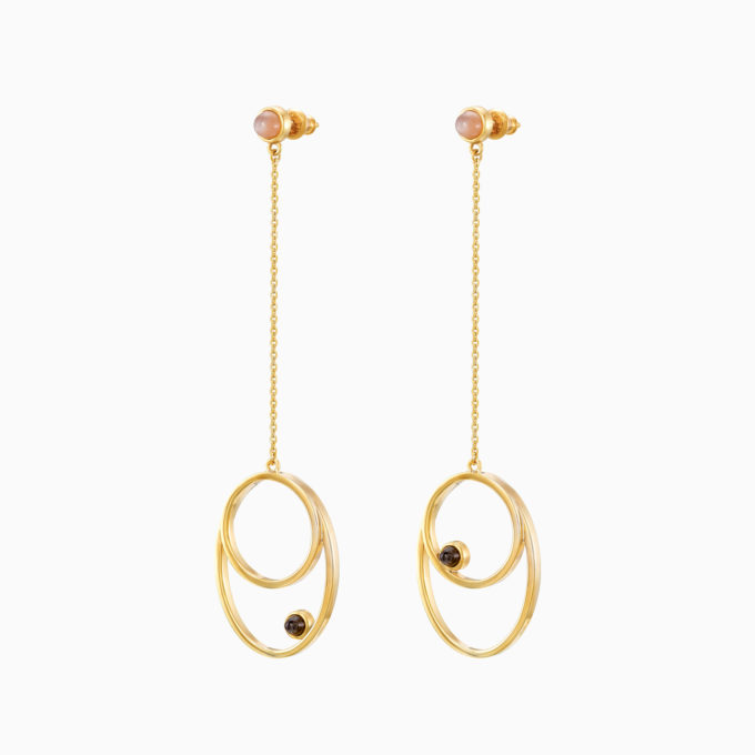 "Roma ""Rosa"" Gold Plated Silver Earrings with Cloudy Sunstone and Rose Moonstone"