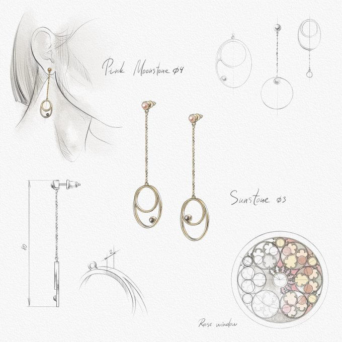 """Roma """"Rosa"""" Gold Plated Silver Earrings with Cloudy Sunstone and Rose Moonstone"""