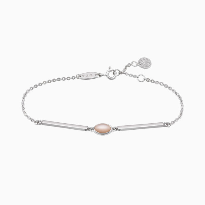 Roma Silver Bracelet with Rose Moonstone