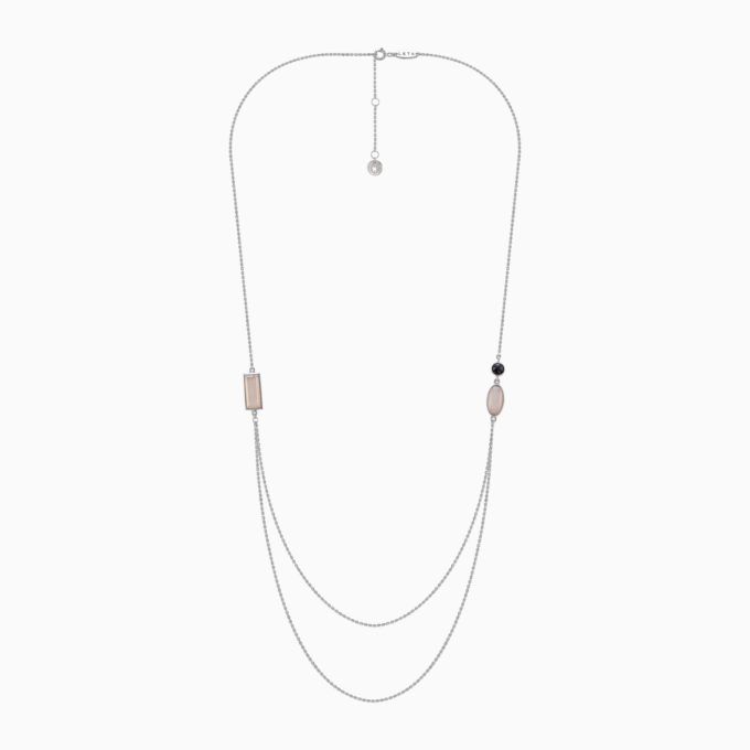 Roma Silver Necklace with Cloudy Sunstone and Rose Moonstone
