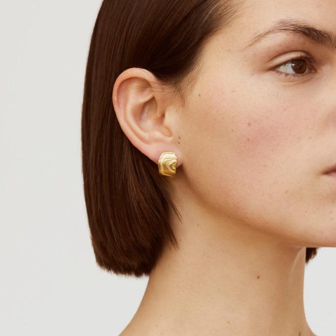 Atlas Aare Gold Plated Silver Huggie Earrings