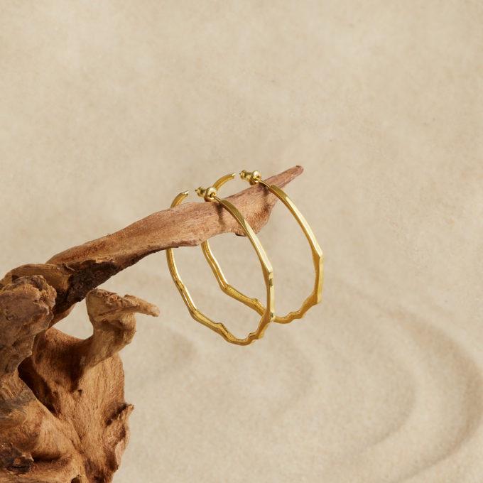 Серьги-кольца Атлас Кабу да Рока из серебра с покрытием золотом