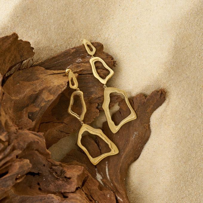 Серьги Атлас Кайлас из серебра с покрытием золотом