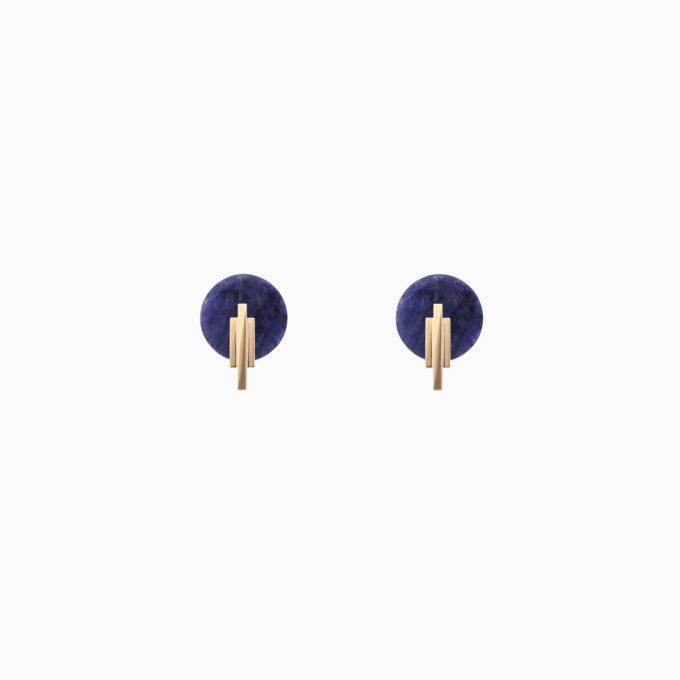 Двойные серьги Una из золота с содалитом