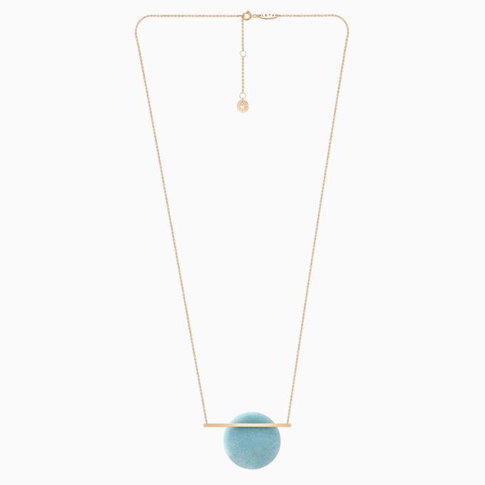 Una Gold Necklace with Sky Blue Quartz