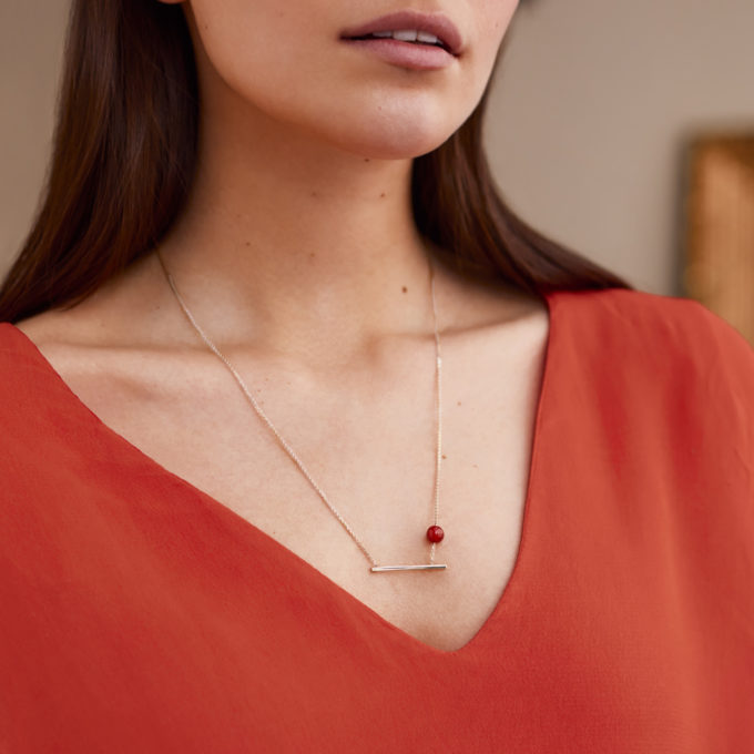 Una Gold Necklace with Red Onyx