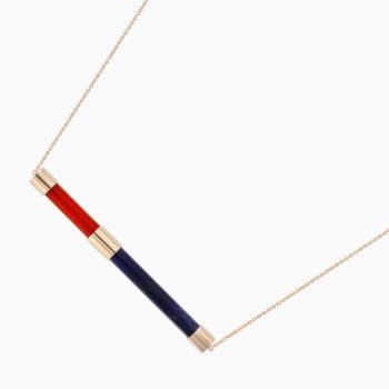 Колье Una из золота с содалитом и ониксом