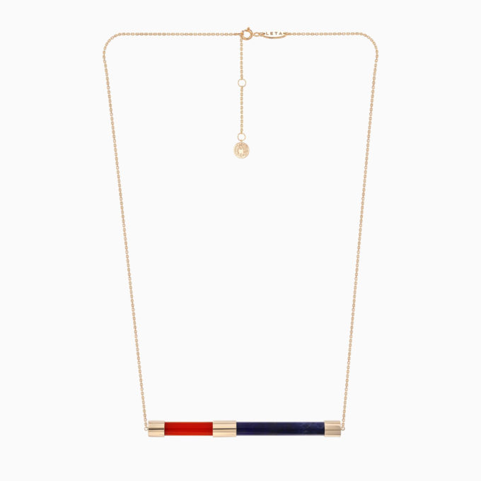 Una Gold Necklace with Blue Sodalite and Red Onyx