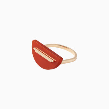 Una Gold Ring with Red Onyx
