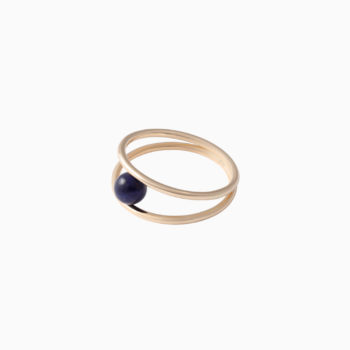Una Thin Gold Ring with Blue Sodalite
